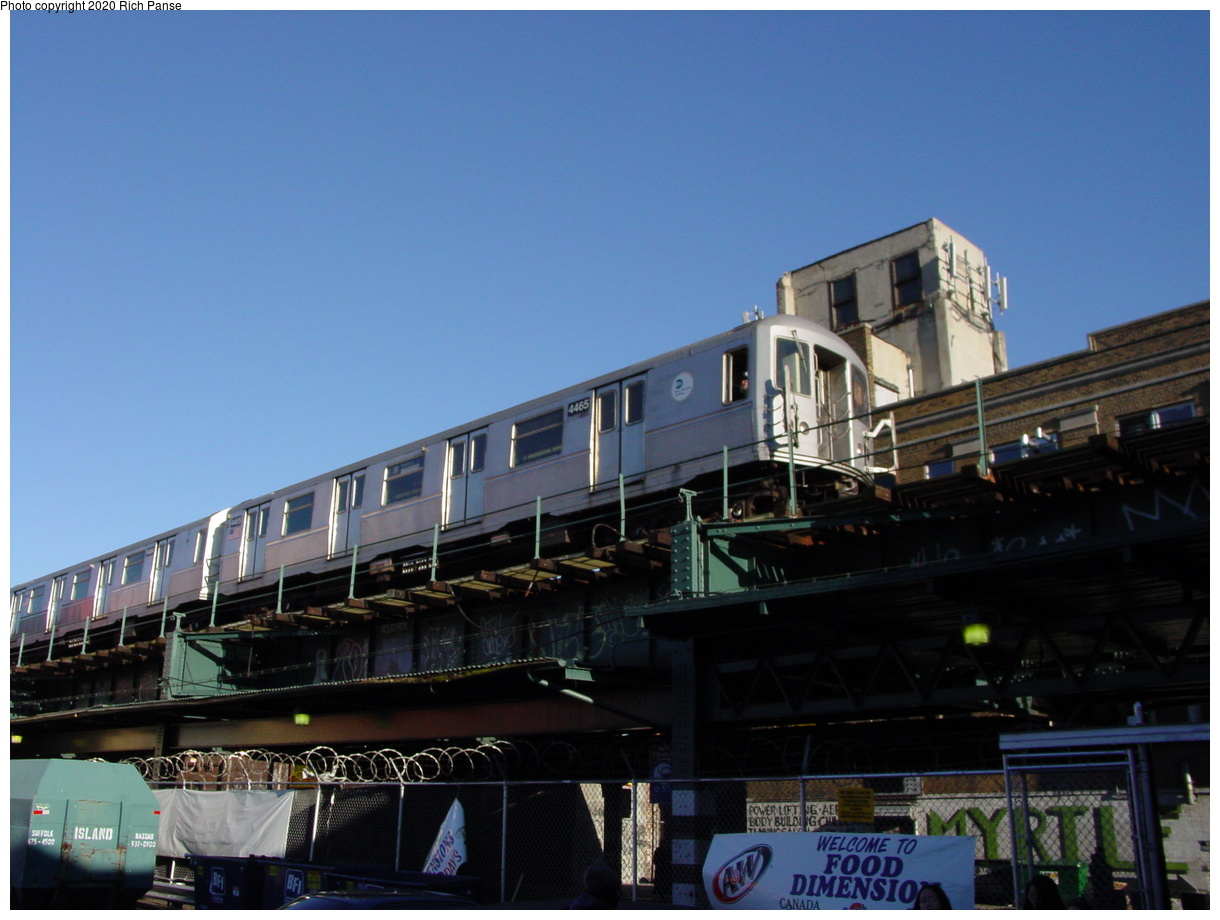 (62k, 820x620)<br><b>Country:</b> United States<br><b>City:</b> New York<br><b>System:</b> New York City Transit<br><b>Line:</b> BMT Myrtle Avenue Line<br><b>Location:</b> Wyckoff Avenue <br><b>Route:</b> M<br><b>Car:</b> R-40M (St. Louis, 1969)  4465 <br><b>Photo by:</b> Richard Panse<br><b>Date:</b> 1/25/2002<br><b>Viewed (this week/total):</b> 0 / 4509
