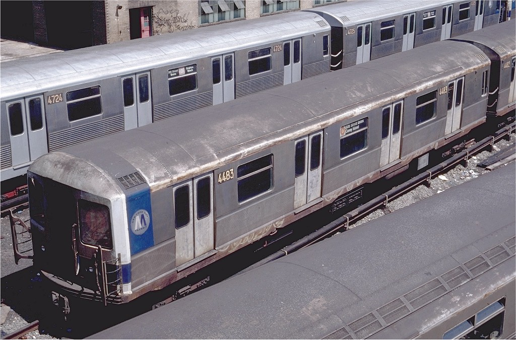 (224k, 1024x675)<br><b>Country:</b> United States<br><b>City:</b> New York<br><b>System:</b> New York City Transit<br><b>Location:</b> Concourse Yard<br><b>Car:</b> R-40M (St. Louis, 1969)  4483 (ex-4283)<br><b>Photo by:</b> Steve Zabel<br><b>Collection of:</b> Joe Testagrose<br><b>Date:</b> 6/29/1981<br><b>Viewed (this week/total):</b> 2 / 4428