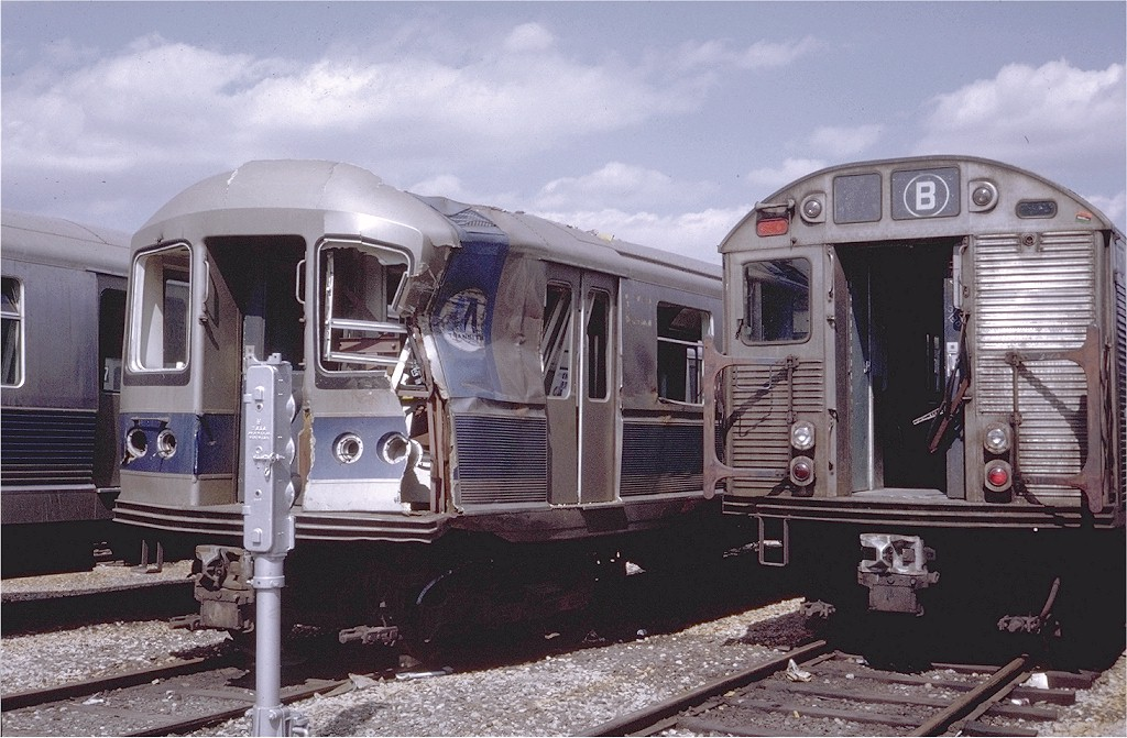 (207k, 1024x671)<br><b>Country:</b> United States<br><b>City:</b> New York<br><b>System:</b> New York City Transit<br><b>Location:</b> Coney Island Yard<br><b>Car:</b> R-40M (St. Louis, 1969)  4501 (ex-4301)<br><b>Photo by:</b> Steve Zabel<br><b>Collection of:</b> Joe Testagrose<br><b>Date:</b> 3/30/1971<br><b>Viewed (this week/total):</b> 11 / 11426