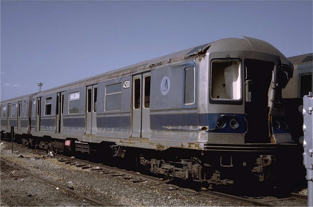 (181k, 1024x676)<br><b>Country:</b> United States<br><b>City:</b> New York<br><b>System:</b> New York City Transit<br><b>Location:</b> Coney Island Yard<br><b>Route:</b> M<br><b>Car:</b> R-40M (St. Louis, 1969)  4501 (ex-4301)<br><b>Photo by:</b> Steve Zabel<br><b>Collection of:</b> Joe Testagrose<br><b>Date:</b> 4/23/1971<br><b>Viewed (this week/total):</b> 2 / 9075