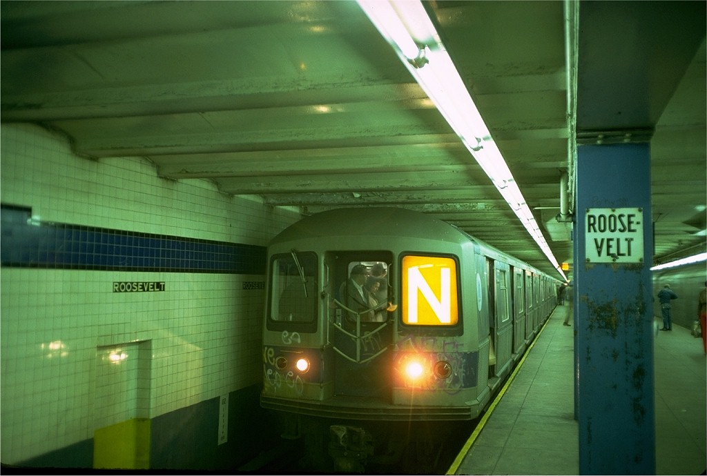 (149k, 1024x690)<br><b>Country:</b> United States<br><b>City:</b> New York<br><b>System:</b> New York City Transit<br><b>Line:</b> IND Queens Boulevard Line<br><b>Location:</b> Roosevelt Avenue <br><b>Route:</b> N<br><b>Car:</b> R-40M (St. Louis, 1969)  4505 (ex-4305)<br><b>Photo by:</b> Doug Grotjahn<br><b>Collection of:</b> Joe Testagrose<br><b>Date:</b> 10/21/1976<br><b>Viewed (this week/total):</b> 2 / 5464