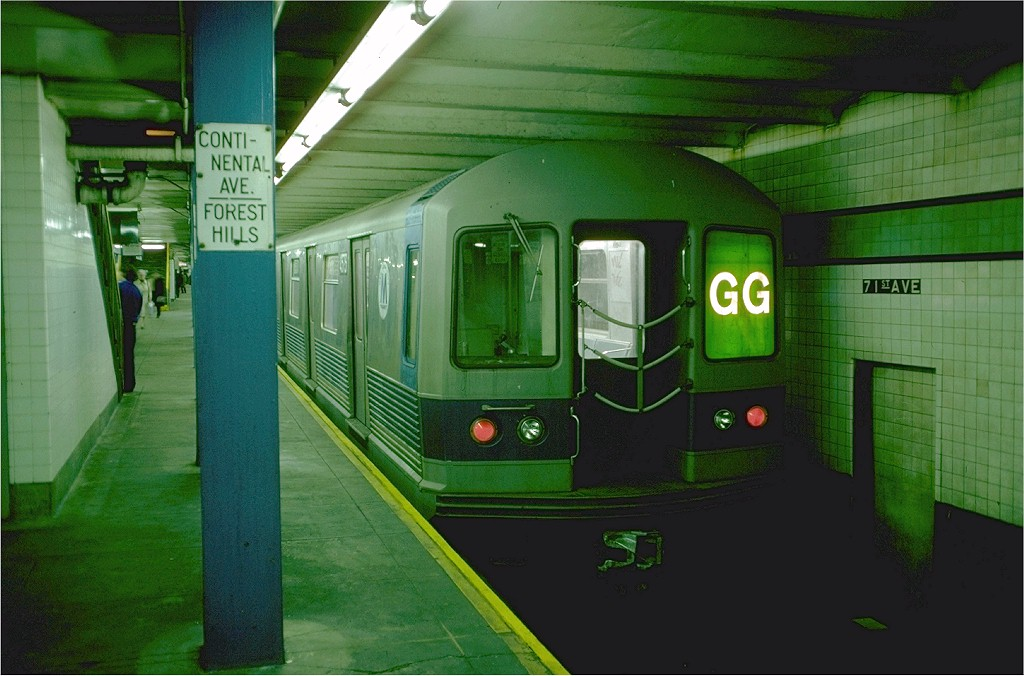 (175k, 1024x676)<br><b>Country:</b> United States<br><b>City:</b> New York<br><b>System:</b> New York City Transit<br><b>Line:</b> IND Queens Boulevard Line<br><b>Location:</b> 71st/Continental Aves./Forest Hills <br><b>Route:</b> GG<br><b>Car:</b> R-42 (St. Louis, 1969-1970)  4573 <br><b>Photo by:</b> Doug Grotjahn<br><b>Collection of:</b> Joe Testagrose<br><b>Date:</b> 10/22/1976<br><b>Viewed (this week/total):</b> 0 / 3530