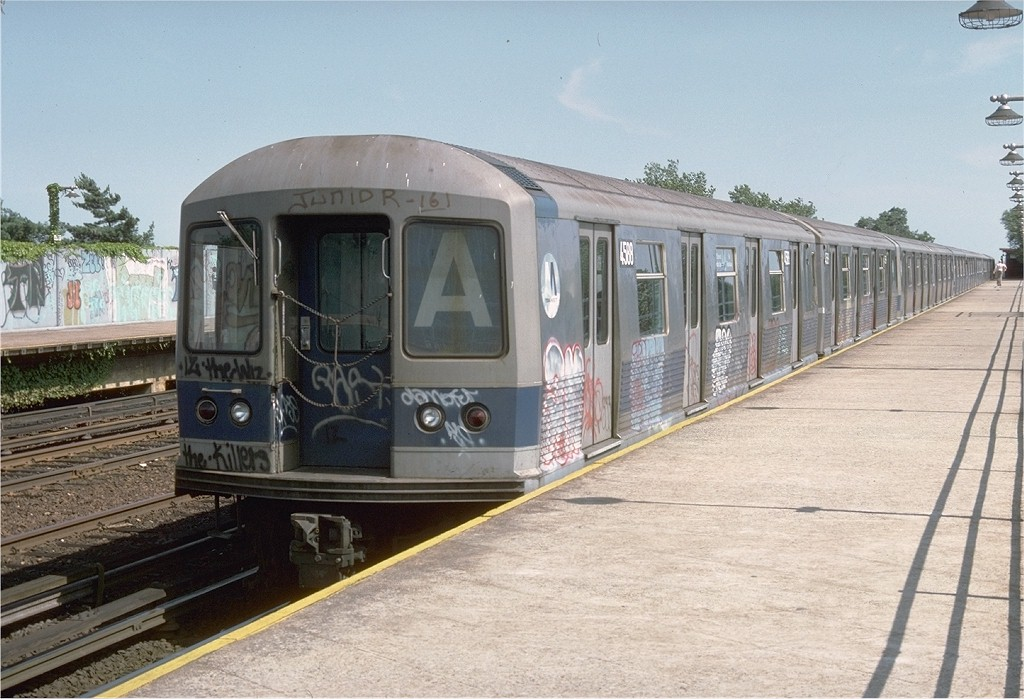 (199k, 1024x699)<br><b>Country:</b> United States<br><b>City:</b> New York<br><b>System:</b> New York City Transit<br><b>Line:</b> IND Rockaway<br><b>Location:</b> Aqueduct/North Conduit Avenue <br><b>Route:</b> A<br><b>Car:</b> R-42 (St. Louis, 1969-1970)  4588 <br><b>Photo by:</b> Doug Grotjahn<br><b>Collection of:</b> Joe Testagrose<br><b>Date:</b> 6/29/1977<br><b>Viewed (this week/total):</b> 1 / 5111