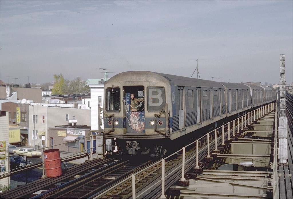 (204k, 1024x695)<br><b>Country:</b> United States<br><b>City:</b> New York<br><b>System:</b> New York City Transit<br><b>Line:</b> BMT West End Line<br><b>Location:</b> 62nd Street <br><b>Route:</b> B<br><b>Car:</b> R-42 (St. Louis, 1969-1970)  4614 <br><b>Photo by:</b> Steve Zabel<br><b>Collection of:</b> Joe Testagrose<br><b>Date:</b> 11/5/1981<br><b>Viewed (this week/total):</b> 0 / 3637