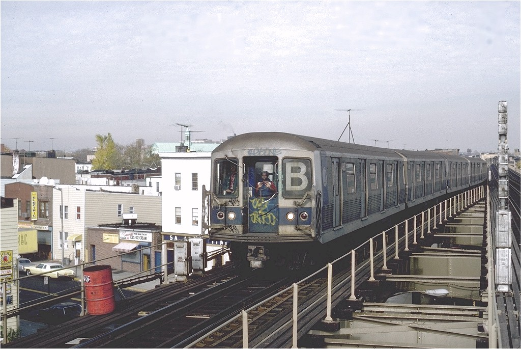 (224k, 1024x685)<br><b>Country:</b> United States<br><b>City:</b> New York<br><b>System:</b> New York City Transit<br><b>Line:</b> BMT West End Line<br><b>Location:</b> 62nd Street <br><b>Route:</b> B<br><b>Car:</b> R-42 (St. Louis, 1969-1970)  4639 <br><b>Photo by:</b> Steve Zabel<br><b>Collection of:</b> Joe Testagrose<br><b>Date:</b> 11/5/1981<br><b>Viewed (this week/total):</b> 0 / 3047