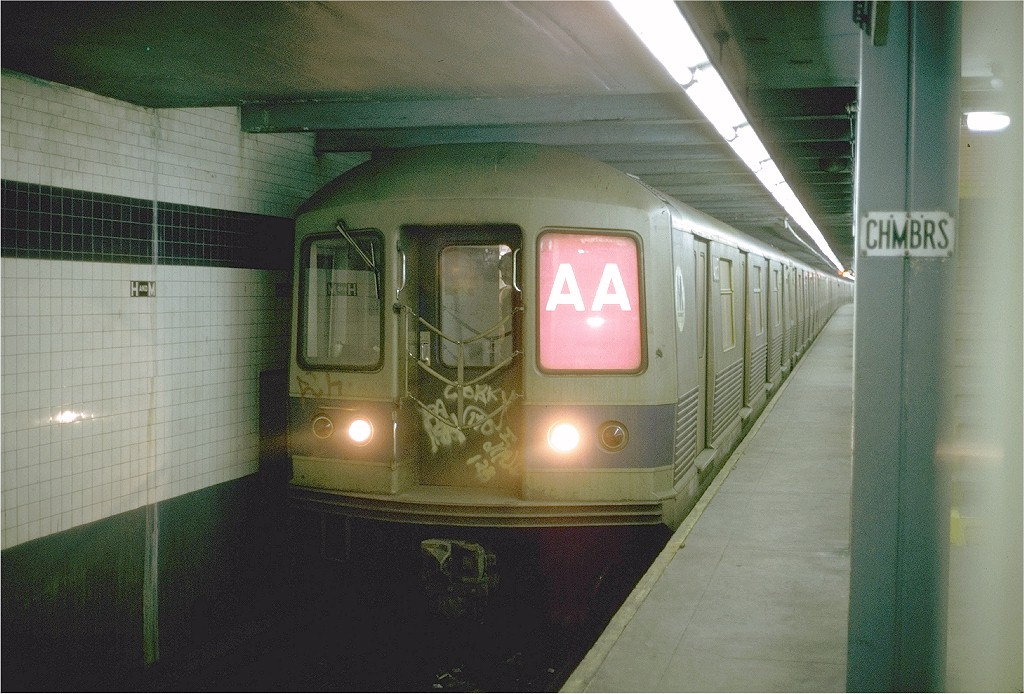 (197k, 1024x694)<br><b>Country:</b> United States<br><b>City:</b> New York<br><b>System:</b> New York City Transit<br><b>Line:</b> IND 8th Avenue Line<br><b>Location:</b> Chambers Street/World Trade Center <br><b>Route:</b> AA<br><b>Car:</b> R-42 (St. Louis, 1969-1970)  4655 <br><b>Photo by:</b> Steve Zabel<br><b>Collection of:</b> Joe Testagrose<br><b>Date:</b> 3/23/1974<br><b>Viewed (this week/total):</b> 3 / 3357