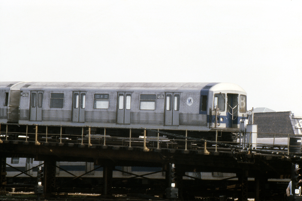 (427k, 1044x708)<br><b>Country:</b> United States<br><b>City:</b> New York<br><b>System:</b> New York City Transit<br><b>Location:</b> Coney Island Yard<br><b>Car:</b> R-42 (St. Louis, 1969-1970)  4656 <br><b>Photo by:</b> Steve Hoskins<br><b>Collection of:</b> David Pirmann<br><b>Date:</b> 8/1979<br><b>Viewed (this week/total):</b> 0 / 3445