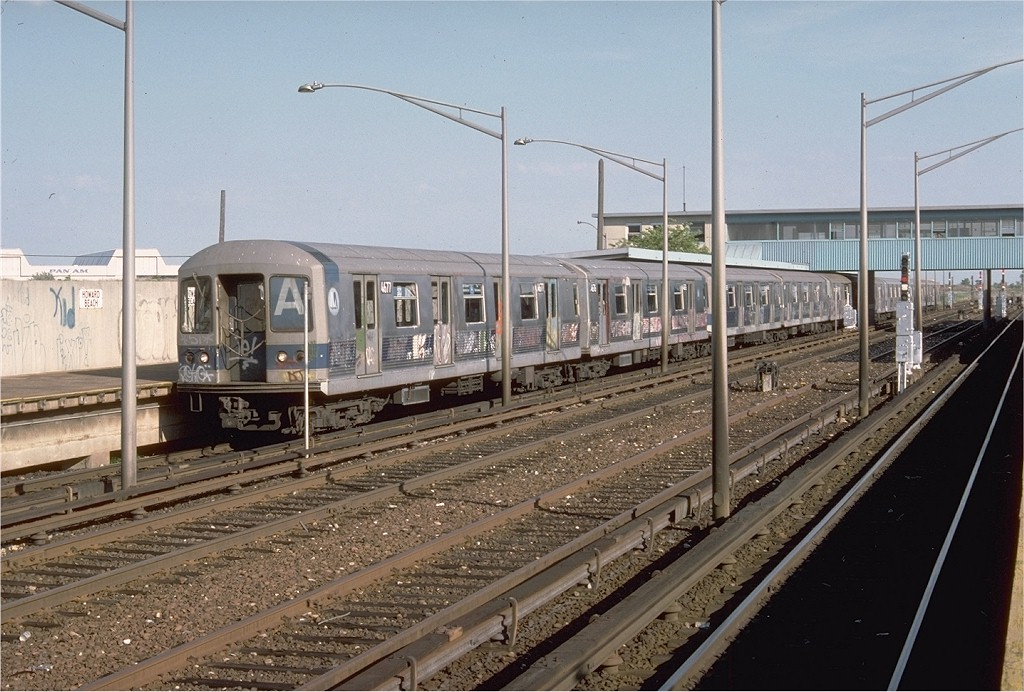 (215k, 1024x692)<br><b>Country:</b> United States<br><b>City:</b> New York<br><b>System:</b> New York City Transit<br><b>Line:</b> IND Rockaway<br><b>Location:</b> Howard Beach <br><b>Route:</b> A<br><b>Car:</b> R-42 (St. Louis, 1969-1970)  4677 <br><b>Photo by:</b> Doug Grotjahn<br><b>Collection of:</b> Joe Testagrose<br><b>Date:</b> 6/29/1977<br><b>Viewed (this week/total):</b> 4 / 4076