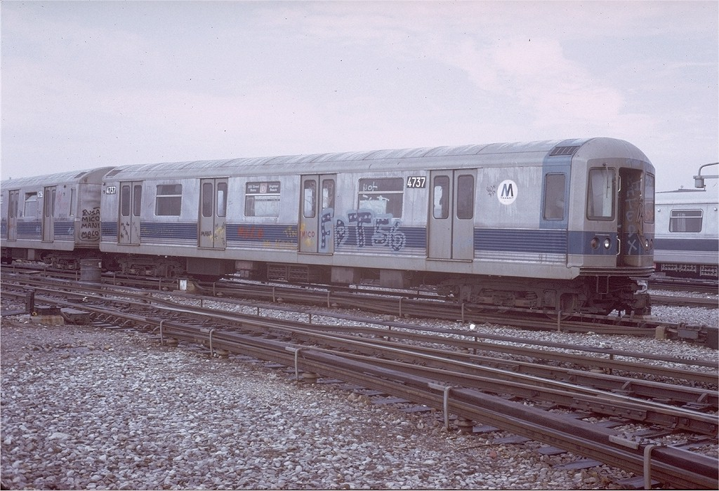 (227k, 1024x700)<br><b>Country:</b> United States<br><b>City:</b> New York<br><b>System:</b> New York City Transit<br><b>Location:</b> Coney Island Yard<br><b>Car:</b> R-42 (St. Louis, 1969-1970)  4737 <br><b>Photo by:</b> Steve Zabel<br><b>Collection of:</b> Joe Testagrose<br><b>Date:</b> 3/8/1973<br><b>Viewed (this week/total):</b> 0 / 2986