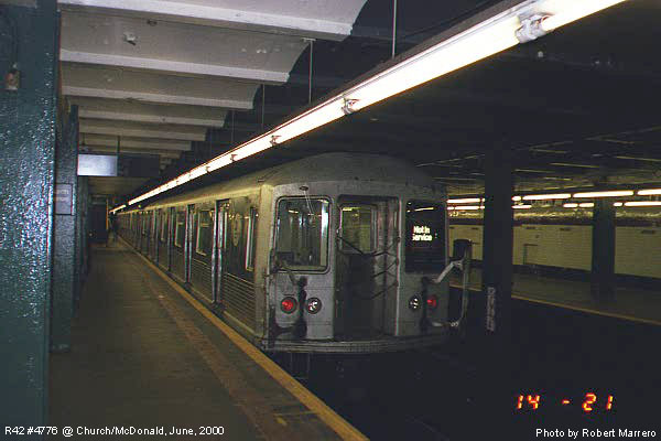 (57k, 600x400)<br><b>Country:</b> United States<br><b>City:</b> New York<br><b>System:</b> New York City Transit<br><b>Line:</b> IND Crosstown Line<br><b>Location:</b> Church Avenue <br><b>Car:</b> R-42 (St. Louis, 1969-1970)  4776 <br><b>Photo by:</b> Robert Marrero<br><b>Date:</b> 6/2000<br><b>Viewed (this week/total):</b> 3 / 5222