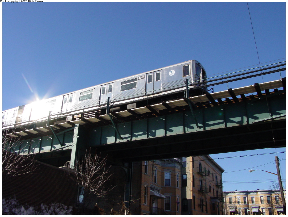 (68k, 820x620)<br><b>Country:</b> United States<br><b>City:</b> New York<br><b>System:</b> New York City Transit<br><b>Line:</b> BMT Myrtle Avenue Line<br><b>Location:</b> Forest Avenue <br><b>Route:</b> M<br><b>Car:</b> R-42 (St. Louis, 1969-1970)  4800 <br><b>Photo by:</b> Richard Panse<br><b>Date:</b> 1/25/2002<br><b>Viewed (this week/total):</b> 5 / 4706
