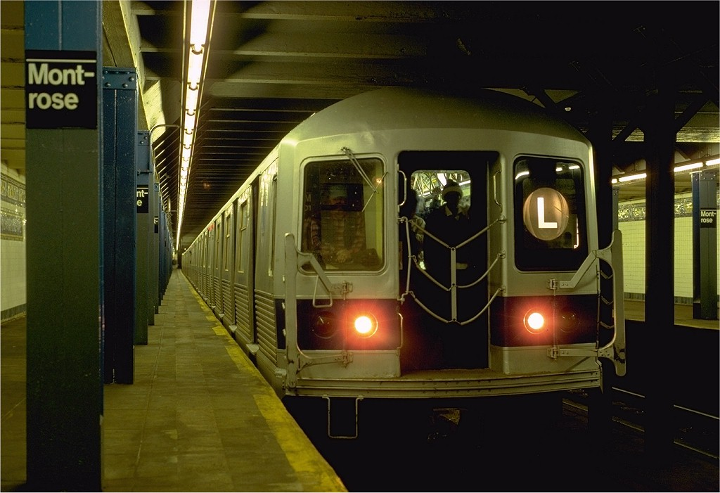 (161k, 1024x701)<br><b>Country:</b> United States<br><b>City:</b> New York<br><b>System:</b> New York City Transit<br><b>Line:</b> BMT Canarsie Line<br><b>Location:</b> Montrose Avenue <br><b>Route:</b> L<br><b>Car:</b> R-42 (St. Louis, 1969-1970)  4849 <br><b>Photo by:</b> Eric Oszustowicz<br><b>Collection of:</b> Joe Testagrose<br><b>Date:</b> 11/15/1986<br><b>Viewed (this week/total):</b> 5 / 7734