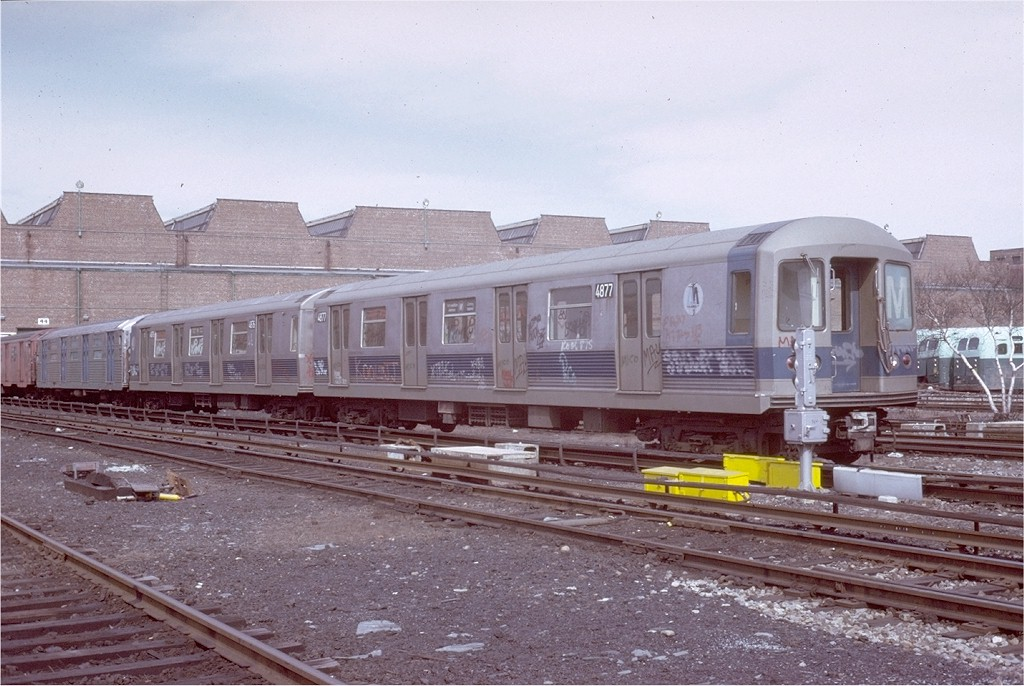 (200k, 1024x686)<br><b>Country:</b> United States<br><b>City:</b> New York<br><b>System:</b> New York City Transit<br><b>Location:</b> Coney Island Yard<br><b>Car:</b> R-42 (St. Louis, 1969-1970)  4877 <br><b>Photo by:</b> Steve Zabel<br><b>Collection of:</b> Joe Testagrose<br><b>Date:</b> 3/9/1973<br><b>Viewed (this week/total):</b> 0 / 2444