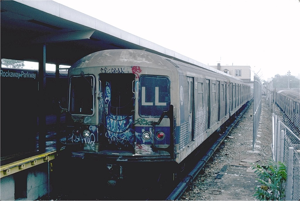 (198k, 1024x688)<br><b>Country:</b> United States<br><b>City:</b> New York<br><b>System:</b> New York City Transit<br><b>Line:</b> BMT Canarsie Line<br><b>Location:</b> Rockaway Parkway <br><b>Route:</b> LL<br><b>Car:</b> R-42 (St. Louis, 1969-1970)  4881 <br><b>Photo by:</b> Steve Zabel<br><b>Collection of:</b> Joe Testagrose<br><b>Date:</b> 5/31/1982<br><b>Viewed (this week/total):</b> 2 / 4694