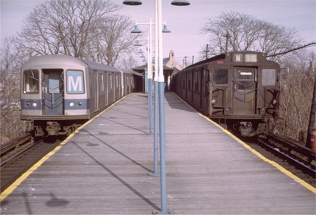 (238k, 1024x697)<br><b>Country:</b> United States<br><b>City:</b> New York<br><b>System:</b> New York City Transit<br><b>Line:</b> BMT Myrtle Avenue Line<br><b>Location:</b> Metropolitan Avenue <br><b>Route:</b> M<br><b>Car:</b> R-42 (St. Louis, 1969-1970)  4892 <br><b>Photo by:</b> Doug Grotjahn<br><b>Collection of:</b> Joe Testagrose<br><b>Date:</b> 12/29/1972<br><b>Notes:</b> With R7 1657<br><b>Viewed (this week/total):</b> 5 / 4660