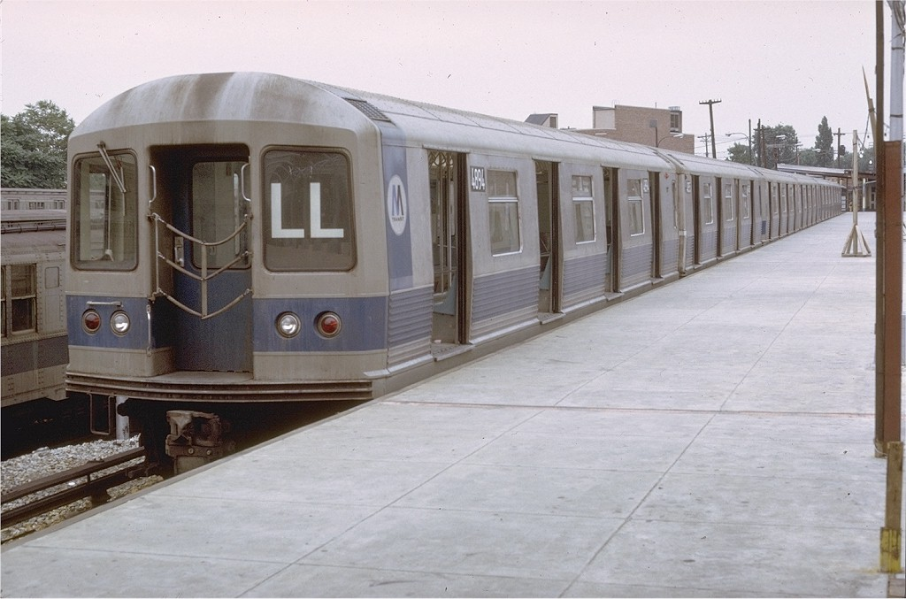(161k, 1024x677)<br><b>Country:</b> United States<br><b>City:</b> New York<br><b>System:</b> New York City Transit<br><b>Line:</b> BMT Canarsie Line<br><b>Location:</b> Rockaway Parkway <br><b>Route:</b> LL<br><b>Car:</b> R-42 (St. Louis, 1969-1970)  4894 <br><b>Photo by:</b> Doug Grotjahn<br><b>Collection of:</b> Joe Testagrose<br><b>Date:</b> 7/11/1971<br><b>Viewed (this week/total):</b> 0 / 3605