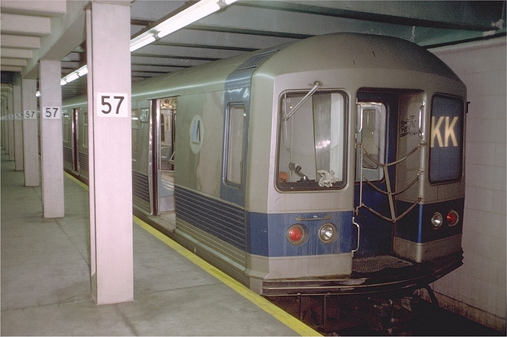 (177k, 1024x681)<br><b>Country:</b> United States<br><b>City:</b> New York<br><b>System:</b> New York City Transit<br><b>Line:</b> IND 6th Avenue Line<br><b>Location:</b> 57th Street <br><b>Route:</b> KK<br><b>Car:</b> R-42 (St. Louis, 1969-1970)  4897 <br><b>Photo by:</b> Doug Grotjahn<br><b>Collection of:</b> Joe Testagrose<br><b>Date:</b> 12/22/1972<br><b>Viewed (this week/total):</b> 2 / 4123