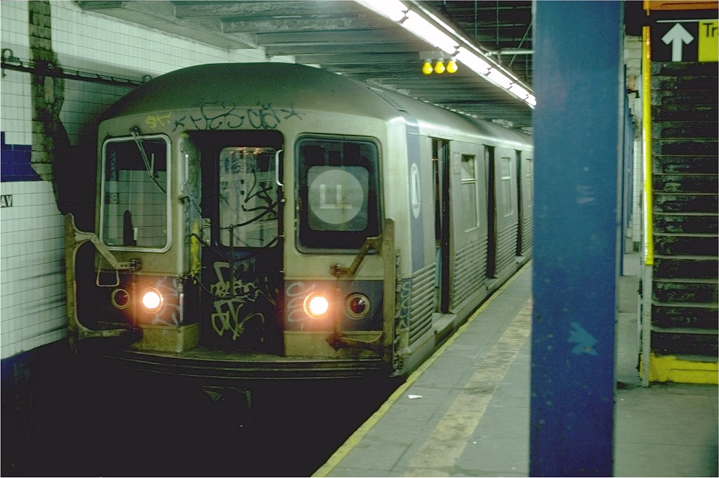 (173k, 1024x681)<br><b>Country:</b> United States<br><b>City:</b> New York<br><b>System:</b> New York City Transit<br><b>Line:</b> BMT Canarsie Line<br><b>Location:</b> 8th Avenue <br><b>Route:</b> L<br><b>Car:</b> R-42 (St. Louis, 1969-1970)  4934 <br><b>Photo by:</b> Steve Zabel<br><b>Collection of:</b> Joe Testagrose<br><b>Date:</b> 7/5/1982<br><b>Viewed (this week/total):</b> 1 / 4899