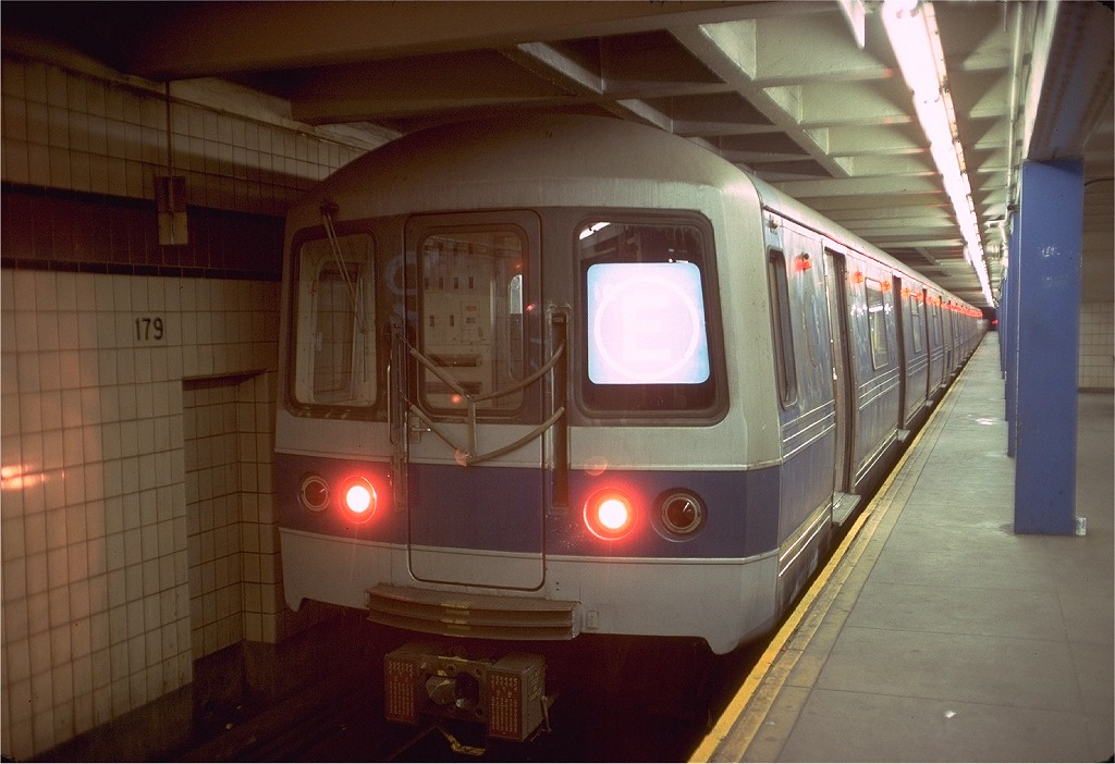 (168k, 1024x702)<br><b>Country:</b> United States<br><b>City:</b> New York<br><b>System:</b> New York City Transit<br><b>Line:</b> IND Queens Boulevard Line<br><b>Location:</b> 179th Street <br><b>Route:</b> E<br><b>Car:</b> R-44 (St. Louis, 1971-73) 244 <br><b>Photo by:</b> Doug Grotjahn<br><b>Collection of:</b> Joe Testagrose<br><b>Date:</b> 5/28/1977<br><b>Viewed (this week/total):</b> 2 / 5968