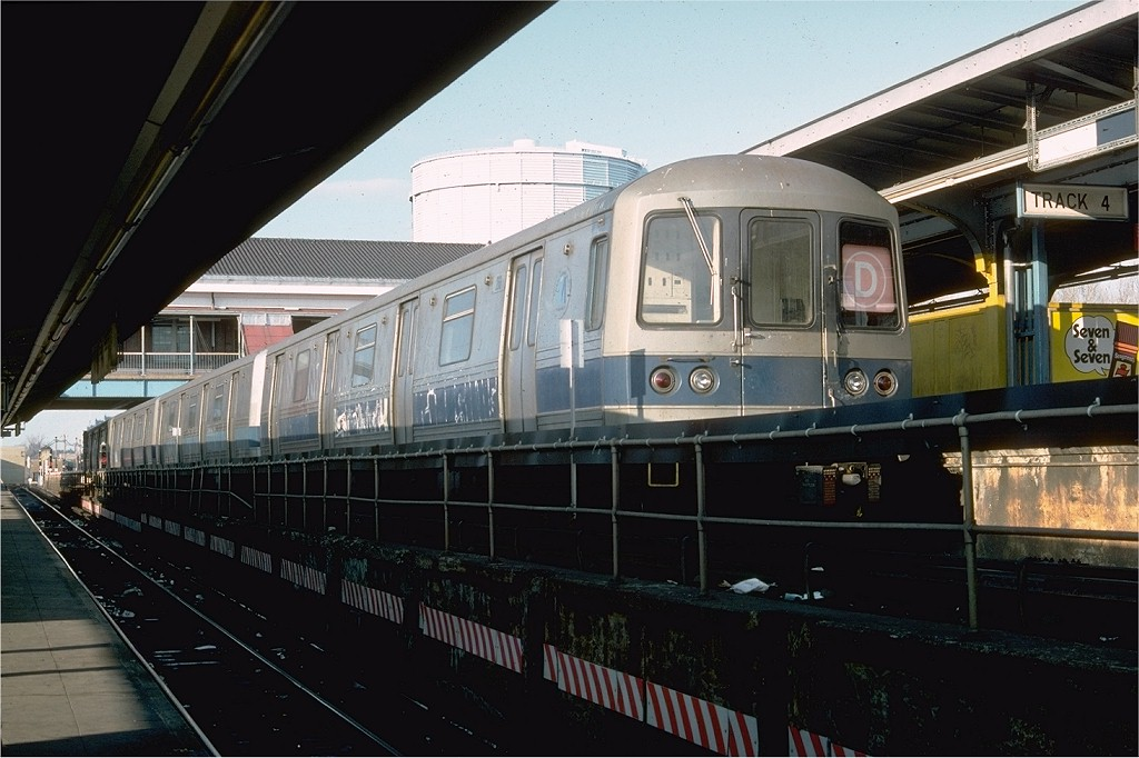 (176k, 1024x682)<br><b>Country:</b> United States<br><b>City:</b> New York<br><b>System:</b> New York City Transit<br><b>Location:</b> Coney Island/Stillwell Avenue<br><b>Route:</b> D<br><b>Car:</b> R-44 (St. Louis, 1971-73) 266 <br><b>Photo by:</b> Doug Grotjahn<br><b>Collection of:</b> Joe Testagrose<br><b>Date:</b> 2/12/1977<br><b>Viewed (this week/total):</b> 0 / 4824