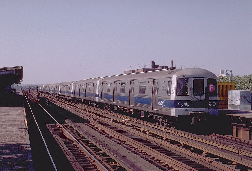 (197k, 1024x695)<br><b>Country:</b> United States<br><b>City:</b> New York<br><b>System:</b> New York City Transit<br><b>Line:</b> BMT Culver Line<br><b>Location:</b> Avenue P <br><b>Route:</b> F<br><b>Car:</b> R-46 (Pullman-Standard, 1974-75) 1020 <br><b>Photo by:</b> Joe Testagrose<br><b>Date:</b> 7/4/1980<br><b>Viewed (this week/total):</b> 4 / 4590