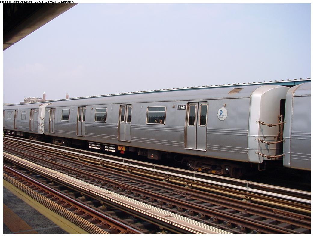 (115k, 1044x788)<br><b>Country:</b> United States<br><b>City:</b> New York<br><b>System:</b> New York City Transit<br><b>Line:</b> BMT Culver Line<br><b>Location:</b> Ditmas Avenue <br><b>Route:</b> F<br><b>Car:</b> R-46 (Pullman-Standard, 1974-75) 5741 <br><b>Photo by:</b> David Pirmann<br><b>Date:</b> 8/27/2000<br><b>Viewed (this week/total):</b> 2 / 2637