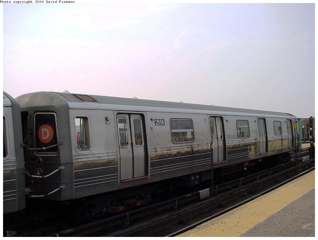 (85k, 1044x788)<br><b>Country:</b> United States<br><b>City:</b> New York<br><b>System:</b> New York City Transit<br><b>Location:</b> Coney Island/Stillwell Avenue<br><b>Route:</b> B<br><b>Car:</b> R-68 (Westinghouse-Amrail, 1986-1988)  2556 <br><b>Photo by:</b> David Pirmann<br><b>Date:</b> 8/27/2000<br><b>Viewed (this week/total):</b> 7 / 4301
