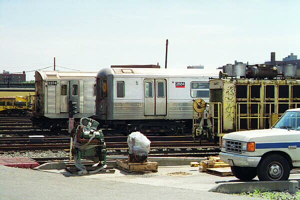 (113k, 600x400)<br><b>Country:</b> United States<br><b>City:</b> New York<br><b>System:</b> New York City Transit<br><b>Location:</b> Coney Island Yard<br><b>Car:</b> R-68 (Westinghouse-Amrail, 1986-1988)  2684 <br><b>Photo by:</b> Sidney Keyles<br><b>Date:</b> 5/22/1999<br><b>Viewed (this week/total):</b> 2 / 4313