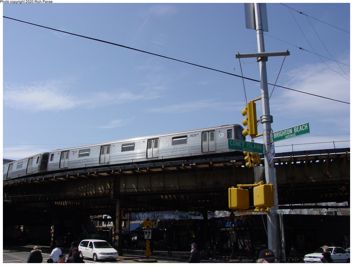 (59k, 820x620)<br><b>Country:</b> United States<br><b>City:</b> New York<br><b>System:</b> New York City Transit<br><b>Line:</b> BMT Brighton Line<br><b>Location:</b> Brighton Beach <br><b>Route:</b> Q<br><b>Car:</b> R-68 (Westinghouse-Amrail, 1986-1988)  2780 <br><b>Photo by:</b> Richard Panse<br><b>Date:</b> 4/9/2002<br><b>Viewed (this week/total):</b> 0 / 5186
