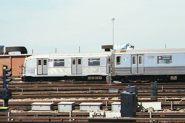 (104k, 600x400)<br><b>Country:</b> United States<br><b>City:</b> New York<br><b>System:</b> New York City Transit<br><b>Location:</b> Coney Island Yard<br><b>Car:</b> R-68A (Kawasaki, 1988-1989)  5044 <br><b>Photo by:</b> Sidney Keyles<br><b>Date:</b> 5/22/1999<br><b>Viewed (this week/total):</b> 0 / 4094