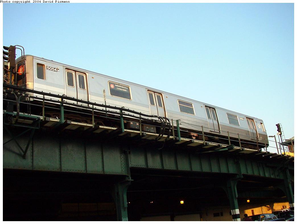 (90k, 1044x788)<br><b>Country:</b> United States<br><b>City:</b> New York<br><b>System:</b> New York City Transit<br><b>Location:</b> Coney Island/Stillwell Avenue<br><b>Route:</b> B<br><b>Car:</b> R-68A (Kawasaki, 1988-1989)  5054 <br><b>Photo by:</b> David Pirmann<br><b>Date:</b> 5/17/2000<br><b>Viewed (this week/total):</b> 13 / 8540