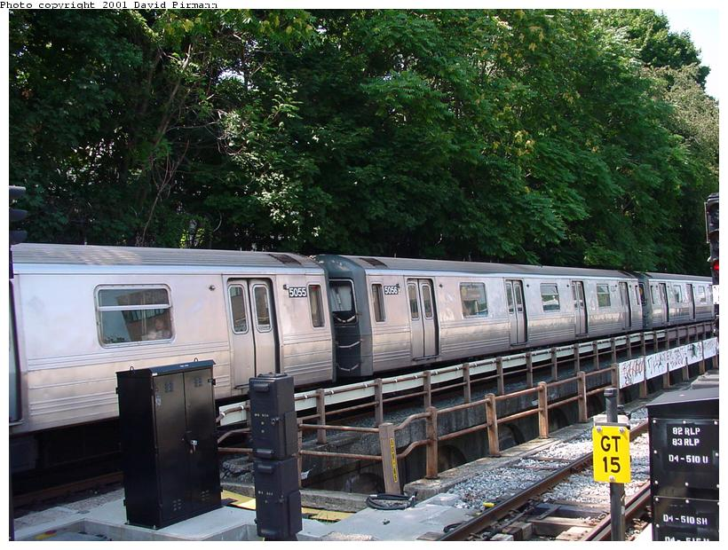 (115k, 820x620)<br><b>Country:</b> United States<br><b>City:</b> New York<br><b>System:</b> New York City Transit<br><b>Line:</b> BMT West End Line<br><b>Location:</b> 9th Avenue <br><b>Route:</b> W<br><b>Car:</b> R-68A (Kawasaki, 1988-1989)  5056 <br><b>Photo by:</b> David Pirmann<br><b>Date:</b> 8/26/2001<br><b>Viewed (this week/total):</b> 3 / 3171