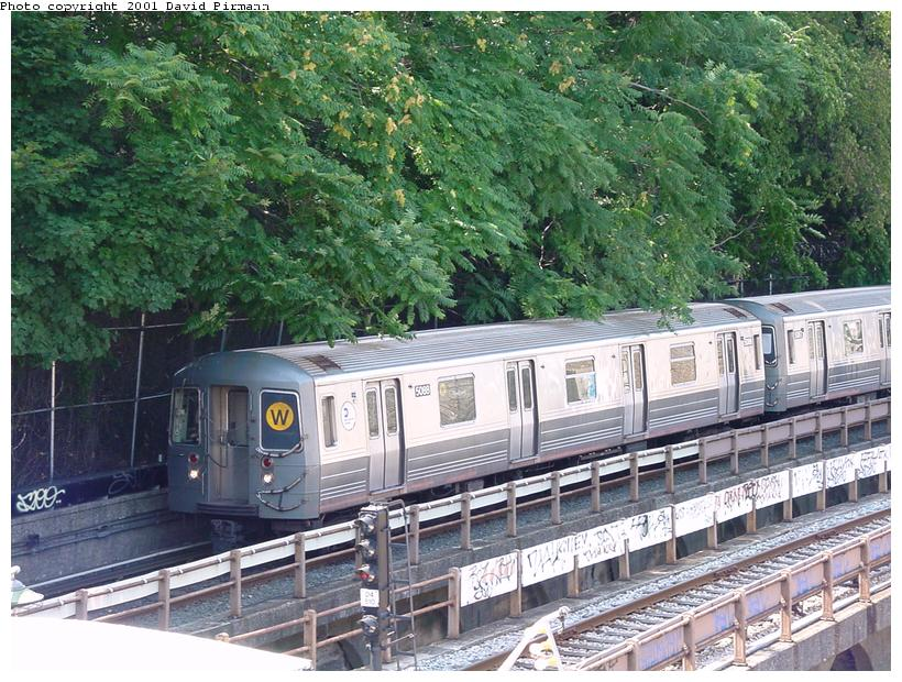 (124k, 820x620)<br><b>Country:</b> United States<br><b>City:</b> New York<br><b>System:</b> New York City Transit<br><b>Line:</b> BMT West End Line<br><b>Location:</b> 9th Avenue <br><b>Route:</b> W<br><b>Car:</b> R-68A (Kawasaki, 1988-1989)  5088 <br><b>Photo by:</b> David Pirmann<br><b>Date:</b> 8/26/2001<br><b>Viewed (this week/total):</b> 4 / 12353