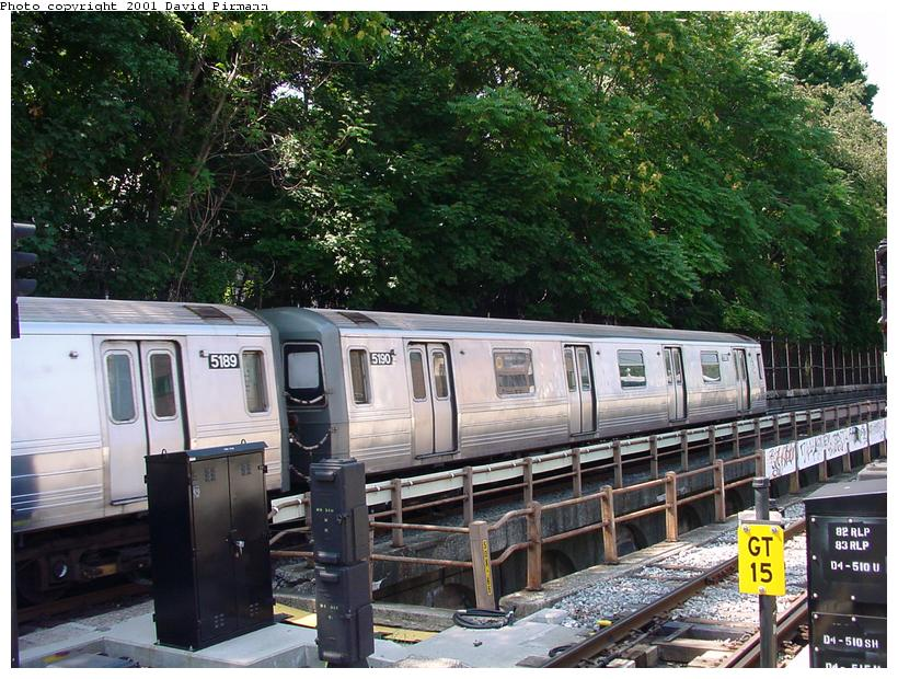 (118k, 820x620)<br><b>Country:</b> United States<br><b>City:</b> New York<br><b>System:</b> New York City Transit<br><b>Line:</b> BMT West End Line<br><b>Location:</b> 9th Avenue <br><b>Route:</b> W<br><b>Car:</b> R-68A (Kawasaki, 1988-1989)  5190 <br><b>Photo by:</b> David Pirmann<br><b>Date:</b> 8/26/2001<br><b>Viewed (this week/total):</b> 4 / 2566