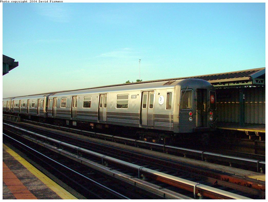 (114k, 1044x788)<br><b>Country:</b> United States<br><b>City:</b> New York<br><b>System:</b> New York City Transit<br><b>Line:</b> BMT West End Line<br><b>Location:</b> 18th Avenue <br><b>Route:</b> B<br><b>Car:</b> R-68A (Kawasaki, 1988-1989)  5190 <br><b>Photo by:</b> David Pirmann<br><b>Date:</b> 5/31/2000<br><b>Viewed (this week/total):</b> 0 / 3869