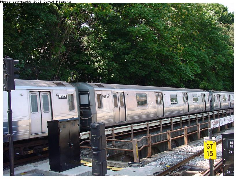 (118k, 820x620)<br><b>Country:</b> United States<br><b>City:</b> New York<br><b>System:</b> New York City Transit<br><b>Line:</b> BMT West End Line<br><b>Location:</b> 9th Avenue <br><b>Route:</b> W<br><b>Car:</b> R-68A (Kawasaki, 1988-1989)  5191 <br><b>Photo by:</b> David Pirmann<br><b>Date:</b> 8/26/2001<br><b>Viewed (this week/total):</b> 1 / 3254
