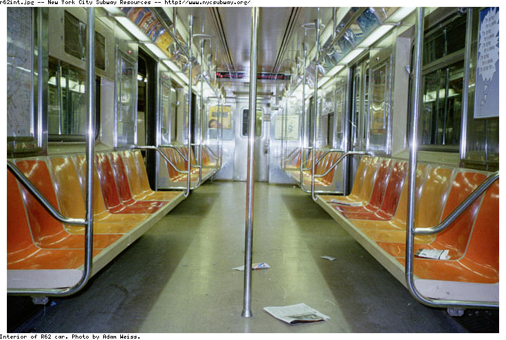 (88k, 736x495)<br><b>Country:</b> United States<br><b>City:</b> New York<br><b>System:</b> New York City Transit<br><b>Car:</b> R-62A (Bombardier, 1984-1987)  Interior <br><b>Photo by:</b> Adam Weiss<br><b>Date:</b> 1997<br><b>Viewed (this week/total):</b> 3 / 14224