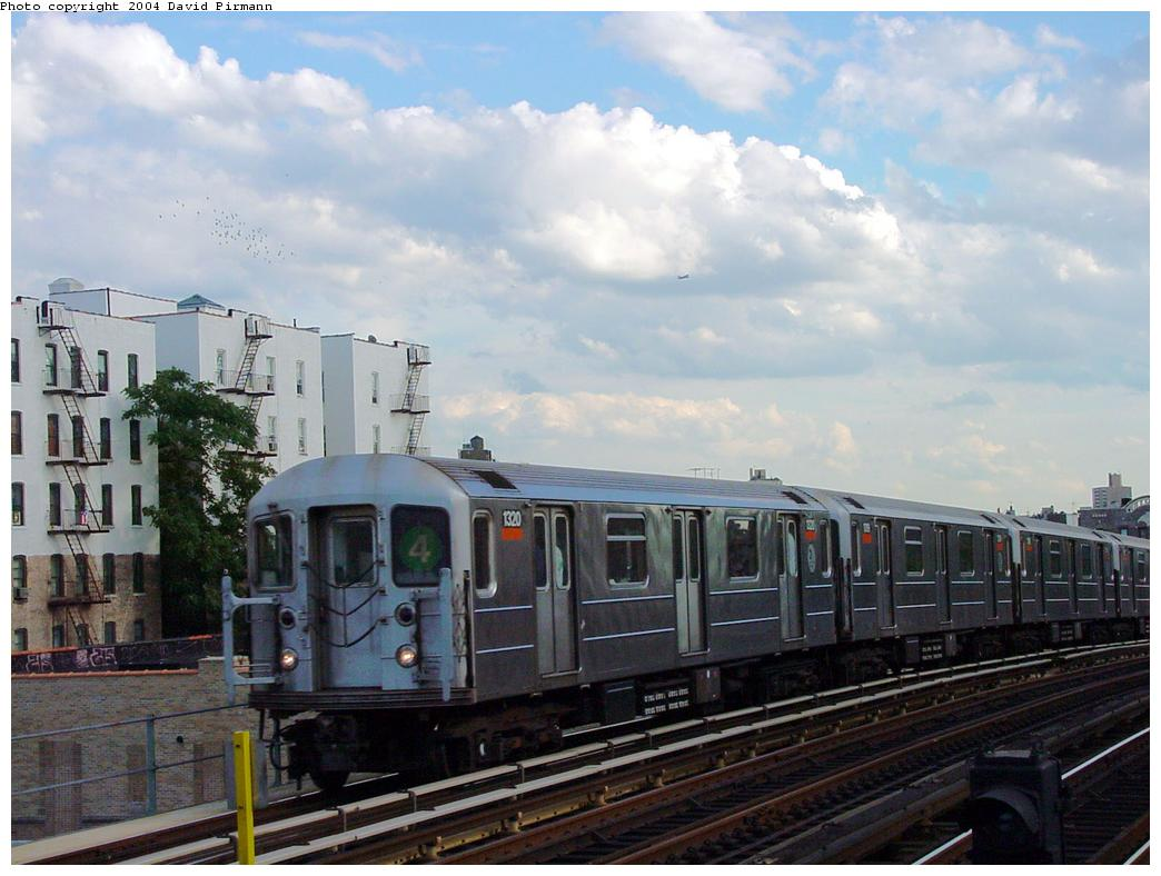 (116k, 1044x788)<br><b>Country:</b> United States<br><b>City:</b> New York<br><b>System:</b> New York City Transit<br><b>Line:</b> IRT Woodlawn Line<br><b>Location:</b> 183rd Street <br><b>Route:</b> 4<br><b>Car:</b> R-62 (Kawasaki, 1983-1985)  1320 <br><b>Photo by:</b> David Pirmann<br><b>Date:</b> 7/12/2001<br><b>Viewed (this week/total):</b> 1 / 3648