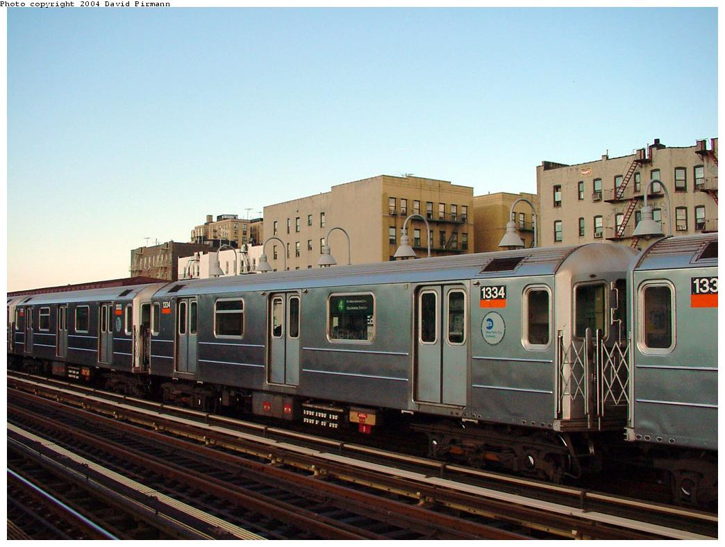 (121k, 1044x788)<br><b>Country:</b> United States<br><b>City:</b> New York<br><b>System:</b> New York City Transit<br><b>Line:</b> IRT Woodlawn Line<br><b>Location:</b> Mt. Eden Avenue <br><b>Route:</b> 4<br><b>Car:</b> R-62 (Kawasaki, 1983-1985)  1334 <br><b>Photo by:</b> David Pirmann<br><b>Date:</b> 7/12/2001<br><b>Viewed (this week/total):</b> 4 / 4479
