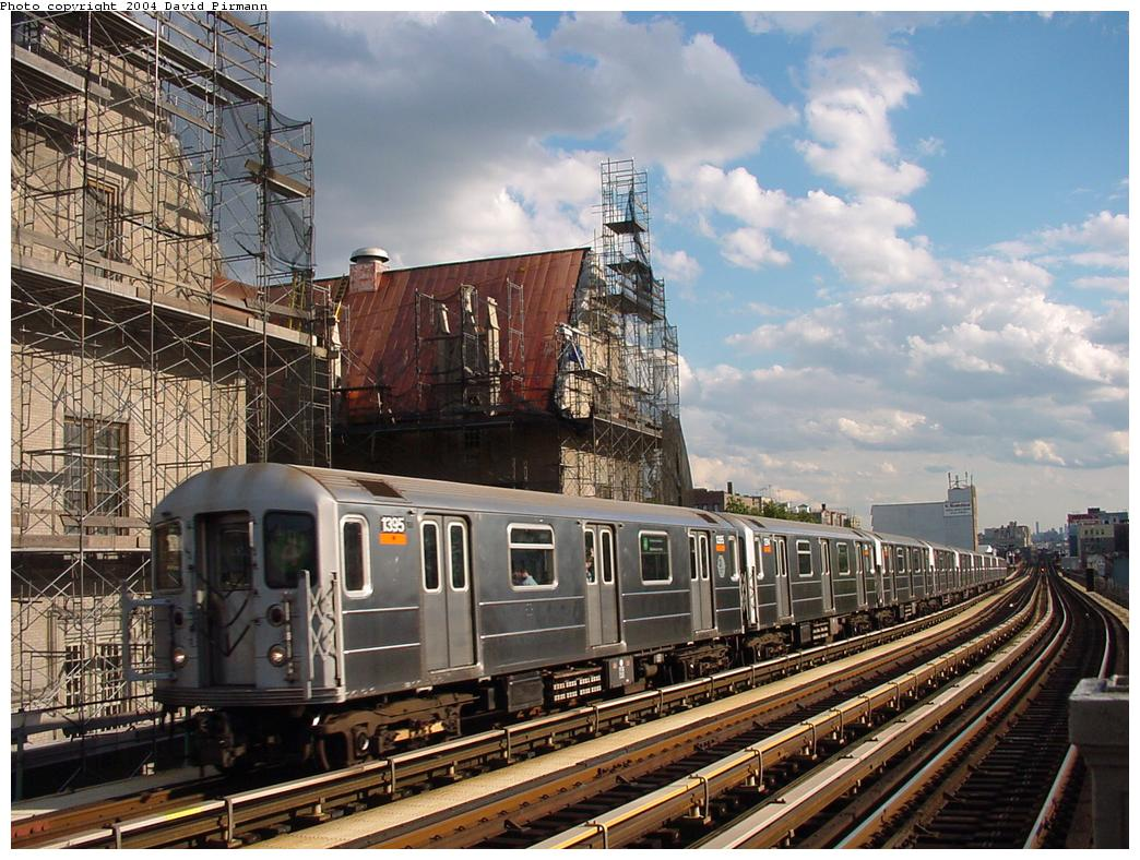(164k, 1044x788)<br><b>Country:</b> United States<br><b>City:</b> New York<br><b>System:</b> New York City Transit<br><b>Line:</b> IRT Woodlawn Line<br><b>Location:</b> Fordham Road <br><b>Route:</b> 4<br><b>Car:</b> R-62 (Kawasaki, 1983-1985)  1395 <br><b>Photo by:</b> David Pirmann<br><b>Date:</b> 7/12/2001<br><b>Viewed (this week/total):</b> 9 / 10081
