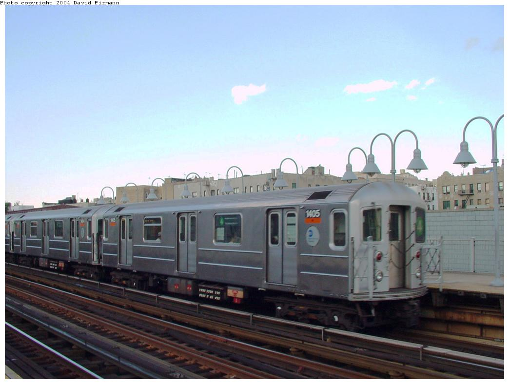 (91k, 1044x788)<br><b>Country:</b> United States<br><b>City:</b> New York<br><b>System:</b> New York City Transit<br><b>Line:</b> IRT Woodlawn Line<br><b>Location:</b> 176th Street <br><b>Route:</b> 4<br><b>Car:</b> R-62 (Kawasaki, 1983-1985)  1405 <br><b>Photo by:</b> David Pirmann<br><b>Date:</b> 7/12/2001<br><b>Viewed (this week/total):</b> 0 / 4995