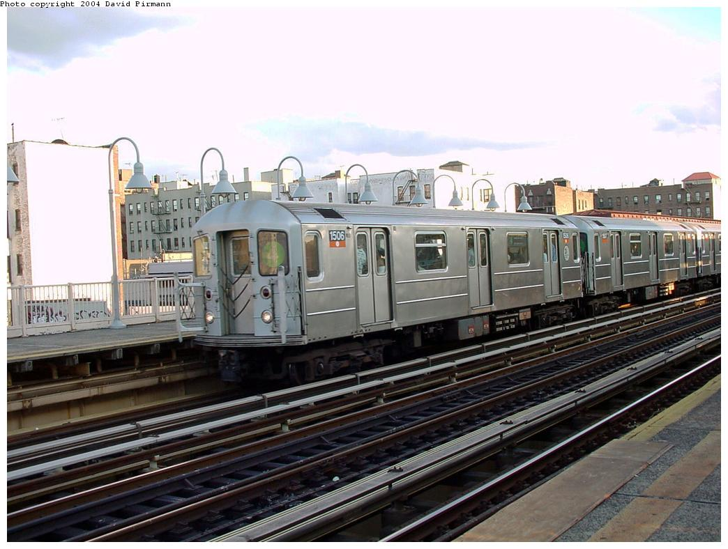 (132k, 1044x788)<br><b>Country:</b> United States<br><b>City:</b> New York<br><b>System:</b> New York City Transit<br><b>Line:</b> IRT Woodlawn Line<br><b>Location:</b> 167th Street <br><b>Route:</b> 4<br><b>Car:</b> R-62 (Kawasaki, 1983-1985)  1506 <br><b>Photo by:</b> David Pirmann<br><b>Date:</b> 7/12/2001<br><b>Viewed (this week/total):</b> 2 / 3802
