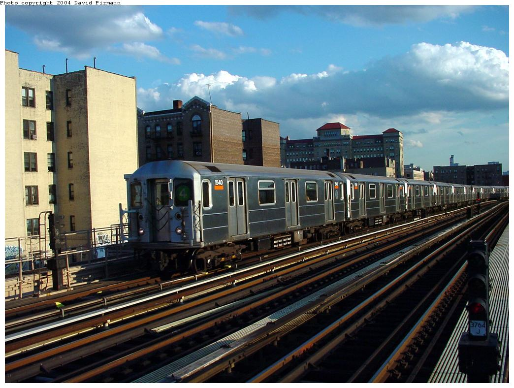 (146k, 1044x788)<br><b>Country:</b> United States<br><b>City:</b> New York<br><b>System:</b> New York City Transit<br><b>Line:</b> IRT Woodlawn Line<br><b>Location:</b> 170th Street <br><b>Route:</b> 4<br><b>Car:</b> R-62 (Kawasaki, 1983-1985)  1540 <br><b>Photo by:</b> David Pirmann<br><b>Date:</b> 7/12/2001<br><b>Viewed (this week/total):</b> 3 / 3026
