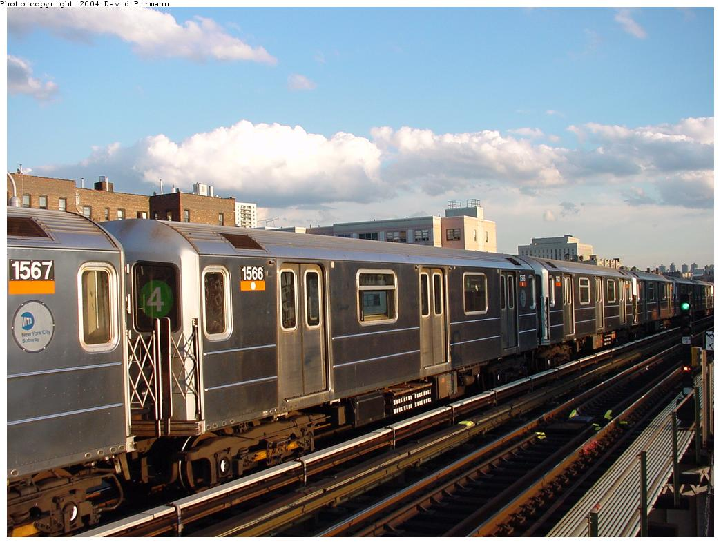 (125k, 1044x788)<br><b>Country:</b> United States<br><b>City:</b> New York<br><b>System:</b> New York City Transit<br><b>Line:</b> IRT Woodlawn Line<br><b>Location:</b> 167th Street <br><b>Route:</b> 4<br><b>Car:</b> R-62 (Kawasaki, 1983-1985)  1566 <br><b>Photo by:</b> David Pirmann<br><b>Date:</b> 7/12/2001<br><b>Viewed (this week/total):</b> 1 / 3188