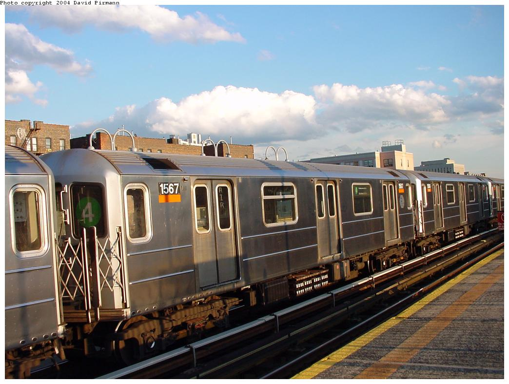 (125k, 1044x788)<br><b>Country:</b> United States<br><b>City:</b> New York<br><b>System:</b> New York City Transit<br><b>Line:</b> IRT Woodlawn Line<br><b>Location:</b> 167th Street <br><b>Route:</b> 4<br><b>Car:</b> R-62 (Kawasaki, 1983-1985)  1567 <br><b>Photo by:</b> David Pirmann<br><b>Date:</b> 7/12/2001<br><b>Viewed (this week/total):</b> 0 / 3318