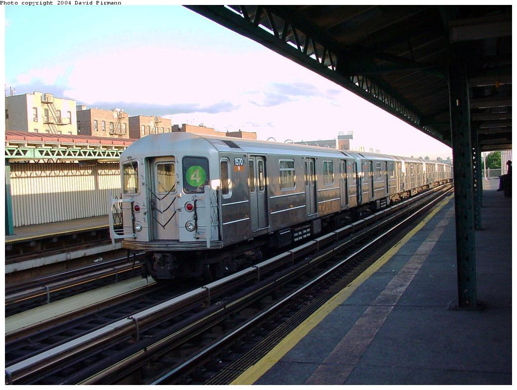 (130k, 1044x788)<br><b>Country:</b> United States<br><b>City:</b> New York<br><b>System:</b> New York City Transit<br><b>Line:</b> IRT Woodlawn Line<br><b>Location:</b> 167th Street <br><b>Route:</b> 4<br><b>Car:</b> R-62 (Kawasaki, 1983-1985)  1570 <br><b>Photo by:</b> David Pirmann<br><b>Date:</b> 7/12/2001<br><b>Viewed (this week/total):</b> 5 / 3776
