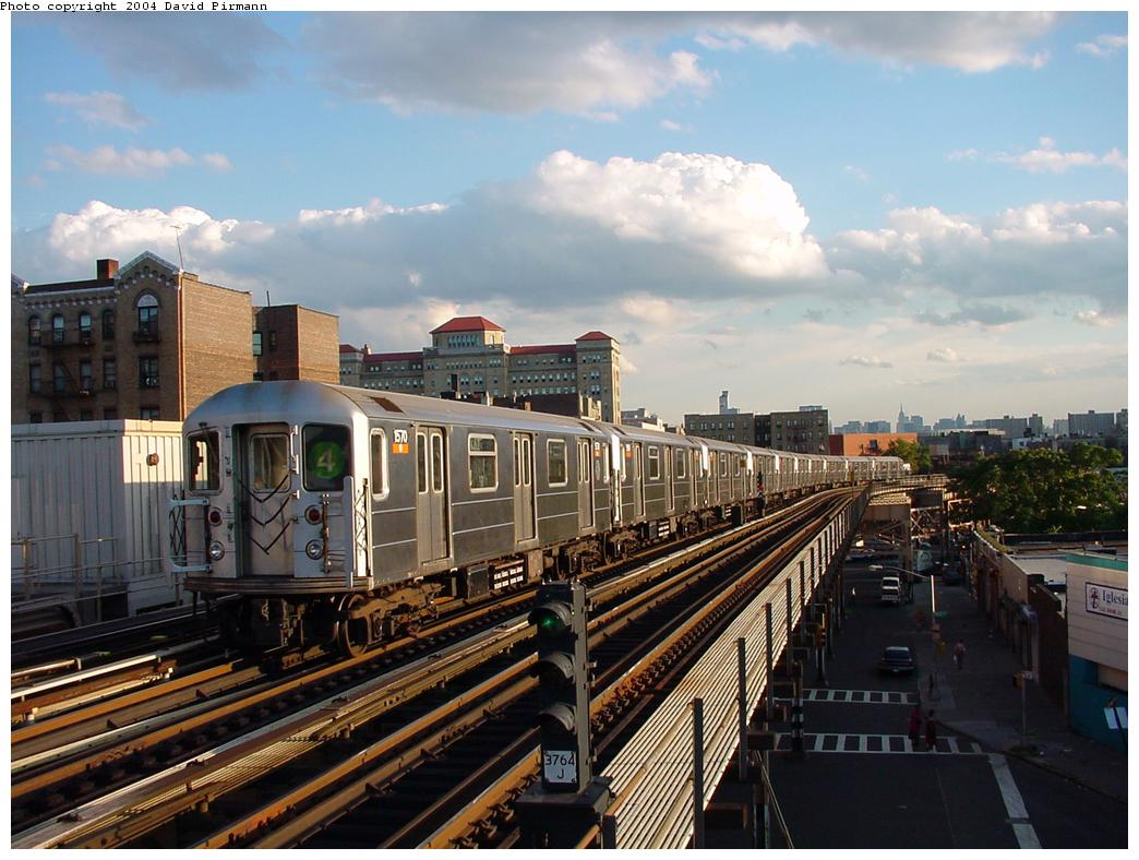 (131k, 1044x788)<br><b>Country:</b> United States<br><b>City:</b> New York<br><b>System:</b> New York City Transit<br><b>Line:</b> IRT Woodlawn Line<br><b>Location:</b> 170th Street <br><b>Route:</b> 4<br><b>Car:</b> R-62 (Kawasaki, 1983-1985)  1570 <br><b>Photo by:</b> David Pirmann<br><b>Date:</b> 7/12/2001<br><b>Viewed (this week/total):</b> 2 / 3643