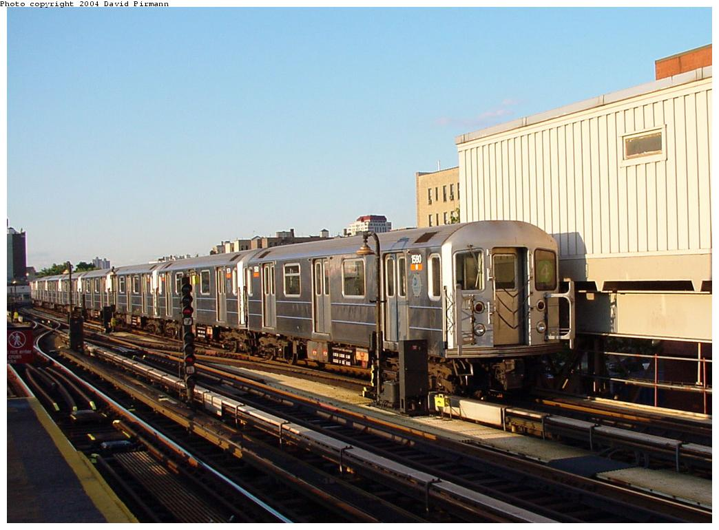 (119k, 1044x770)<br><b>Country:</b> United States<br><b>City:</b> New York<br><b>System:</b> New York City Transit<br><b>Line:</b> IRT Woodlawn Line<br><b>Location:</b> 167th Street <br><b>Route:</b> 4<br><b>Car:</b> R-62 (Kawasaki, 1983-1985)  1590 <br><b>Photo by:</b> David Pirmann<br><b>Date:</b> 7/12/2001<br><b>Viewed (this week/total):</b> 0 / 3470