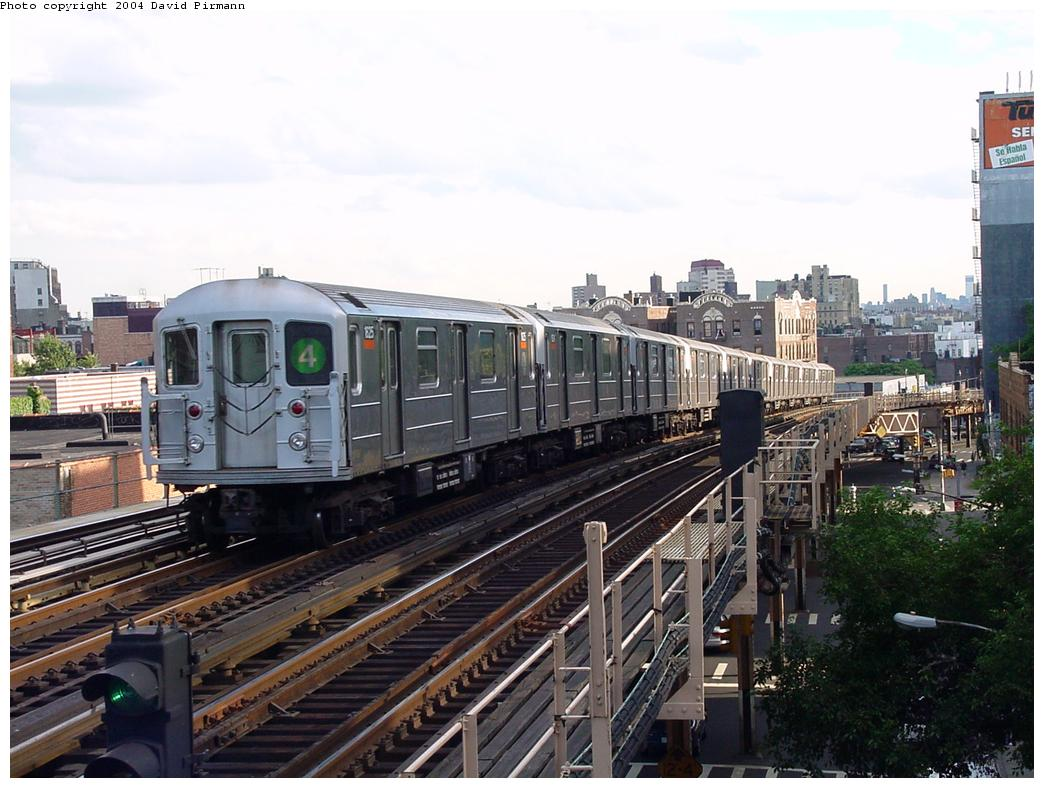 (131k, 1044x788)<br><b>Country:</b> United States<br><b>City:</b> New York<br><b>System:</b> New York City Transit<br><b>Line:</b> IRT Woodlawn Line<br><b>Location:</b> 183rd Street <br><b>Route:</b> 4<br><b>Car:</b> R-62A (Bombardier, 1984-1987)  1625 <br><b>Photo by:</b> David Pirmann<br><b>Date:</b> 7/12/2001<br><b>Viewed (this week/total):</b> 0 / 3779