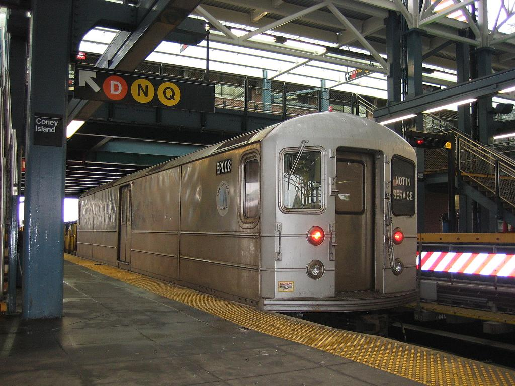 (152k, 1024x768)<br><b>Country:</b> United States<br><b>City:</b> New York<br><b>System:</b> New York City Transit<br><b>Location:</b> Coney Island/Stillwell Avenue<br><b>Route:</b> Work Service<br><b>Car:</b> R-127/R-134 (Kawasaki, 1991-1996) EP008 <br><b>Photo by:</b> Michael Hodurski<br><b>Date:</b> 6/3/2006<br><b>Viewed (this week/total):</b> 1 / 3104